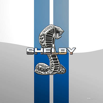 Car Photograph - Shelby Cobra - 3d Badge by Serge Averbukh