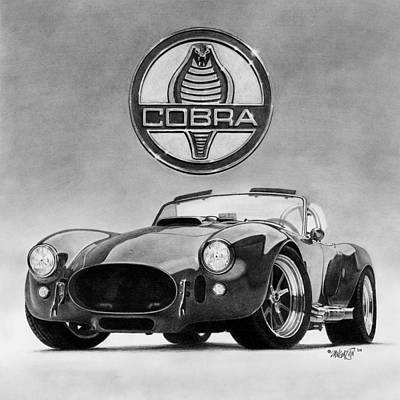 Cobra Drawing - Shelby Cobra by Tim Dangaran