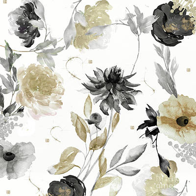 Asters Painting - Shelby Gold And Black by Mindy Sommers
