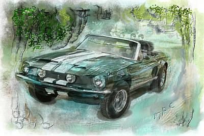 Digital Art - Shelby Mustang 68 by Michael Cleere
