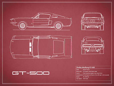 Shelby Mustang Gt500 Blueprint - Red Art Print