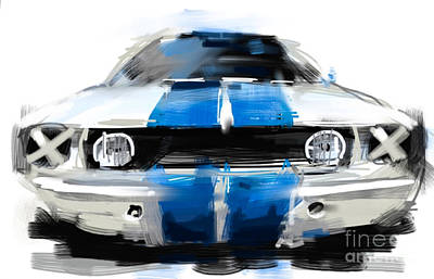 Mustang Gt350 Painting - Shelby Mustang Race Car by Peter Fogg