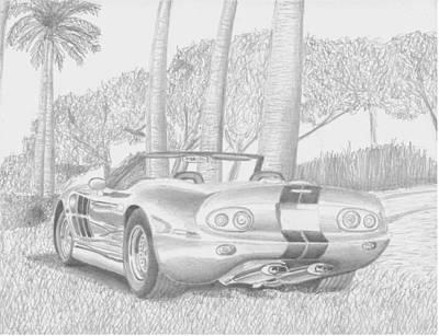 Automotive Art Series Wall Art - Drawing - Shelby Series 1 Sports Car Art Print by Stephen Rooks