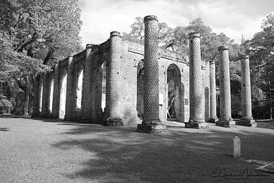 Photograph - Sheldon Church Ruins Bw 4 by Gordon Mooneyhan