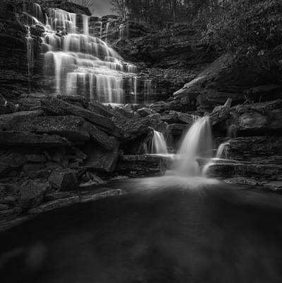 Photograph - Sheldons Falls Square Black And White by Bill Wakeley