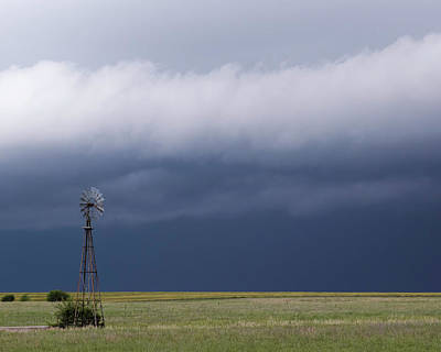 Photograph - Shelf Cloud And Windmill -01 by Rob Graham