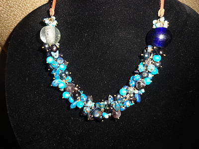 Wire Wrap Jewelry Jewelry - Shell, Amethyst, Blue Dyed Imperial Jasper Necklace by Karen Matthews
