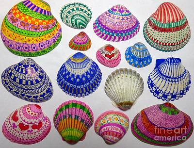 Photograph - Shell Coloring Art by Jean Wright