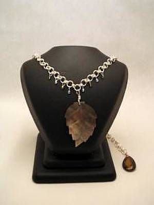 Tigereye Jewelry - Shell Leaf Sterling Silver Long Necklace And Earring Set by Stephanie  Myers