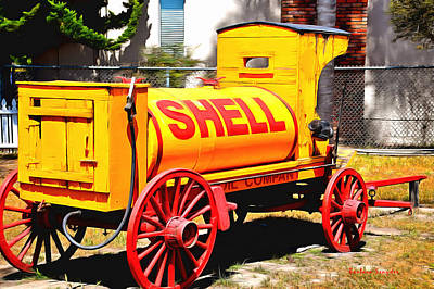 Oil Pumper Painting - Shell Oil Company by Barbara Snyder