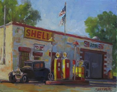Painting - Shell Station Brown County by Nora Sallows