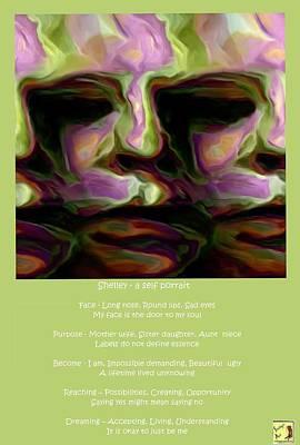 Digital Art - Shelley - A Self Portrait Poster by Shelley Bain