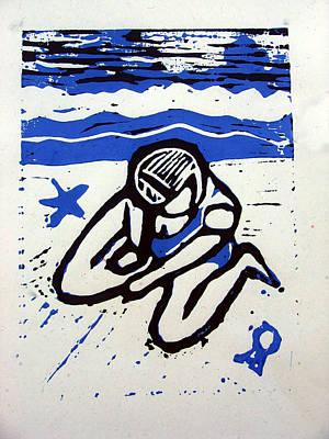 Shellie - Blue Art Print by Adam Kissel