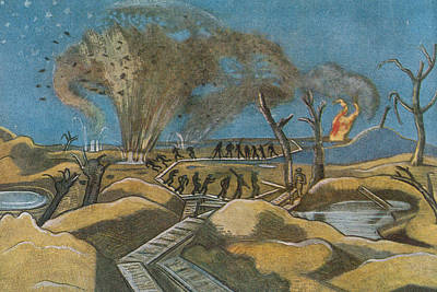 Destruction Drawing - Shelling The Duckboards by Paul Nash