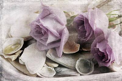 Etc Digital Art - Shells And Roses by Janet Duffey