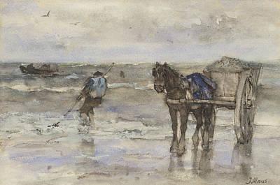 Sea Birds Painting - Shells Fisherman On The Beach by Jacob Maris