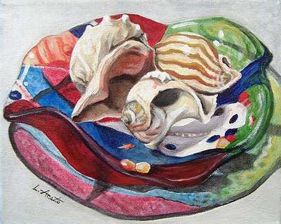 Painting - Shells In Art Glass by Laura Aceto