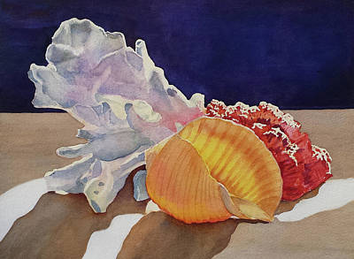 Painting - Shells On A Shelf by Judy Mercer