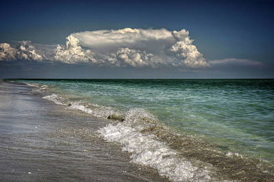 White Photograph - Shells, Surf And Summer Sky by Greg Mimbs