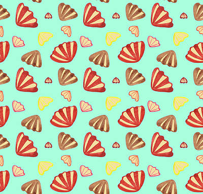 Shells Watercolor Seamless Pattern Art Print