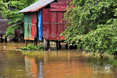Shelter Home Color Cambodia Art Print by Chuck Kuhn
