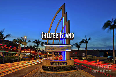 Photograph - Shelter Island Sign With Traffic Light Trails by Sam Antonio Photography