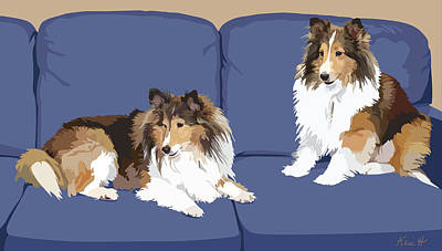 Sheepdog Digital Art - Sheltie Chic by Kris Hackleman