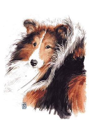 Watercolor Pet Portraits Painting - Sheltie by Debra Jones