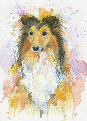 Watercolor Pet Portraits Painting - Sheltie by Kathleen Wong