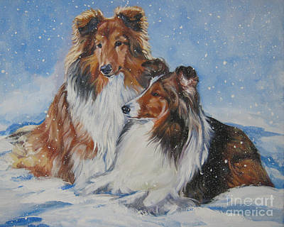 Sheltie Pair Art Print by Lee Ann Shepard
