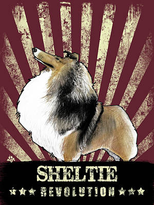 Shetland Sheepdog Drawing - Sheltie Revolution by John LaFree
