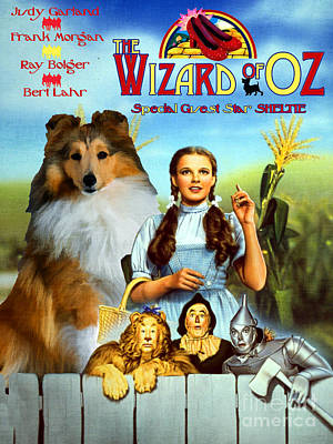 Sheltie Painting - Sheltie - Shetland Sheepdog Art Canvas Print - The Wizard Of Oz  Movie Poster by Sandra Sij