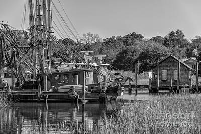Photograph - Shem Creek Black And White by Dale Powell