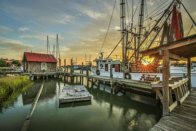 Photograph - Shem Creek Boathouse And Shrimp Boat by Donnie Whitaker