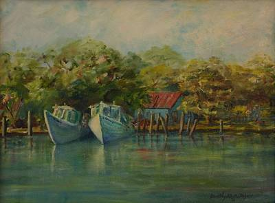 Shem Creek Boats Art Print by Dorothy Allston Rogers