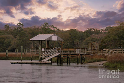 Photograph - Shem Creek Dock At Sunset by Dale Powell