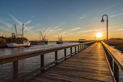 Photograph - Shem Creek Pier Sunset - Mt. Pleasant Sc by Donnie Whitaker
