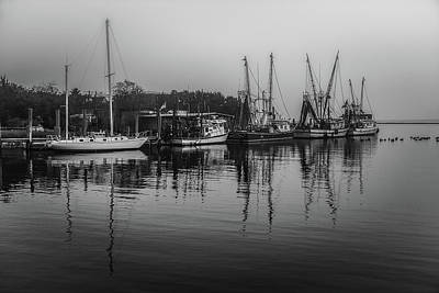 Photograph - Shem Creek Shrimp Boats Black And White by Donnie Whitaker