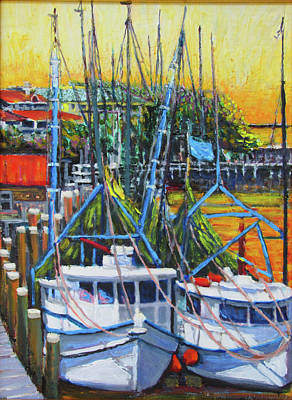 Painting - Shem Creek Shrimpers Sunset by Thomas Michael Meddaugh