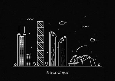 Drawing - Shenzen Skyline Travel Poster by Inspirowl Design