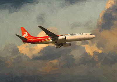 Briex Painting - Shenzhen Airlines B739 On Route by Nop Briex