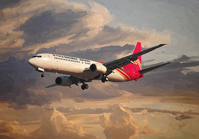 Briex Painting - Shenzhen Airlines Boeing 737-900 Landing by Nop Briex