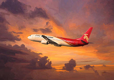 Shenzhen Airlines Enroute Art Print by Nop Briex