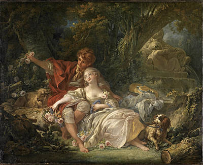 Painting - Shepherd And Shepherdess by Francois Boucher