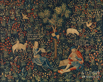 Bagpipes Wall Art - Tapestry - Textile - Shepherd And Shepherdess Making Music by Netherlandish School