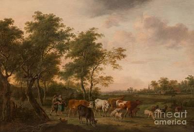 Shepherd And Shepherdess With Flock Art Print