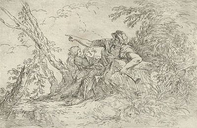 Relief - Shepherd Holding A Flute And Two Other Figures In A Landscape by Salvator Rosa