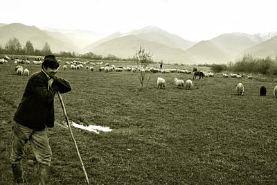 Shepherd In The Carpathians Mountains Art Print