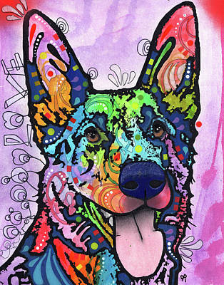 German Shepherd Wall Art - Painting - Shepherd Love by Dean Russo Art