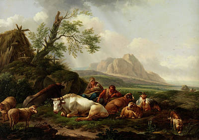 Sheep. Landscape Painting - Shepherd With Cows by Artists Of 18 - Th Century